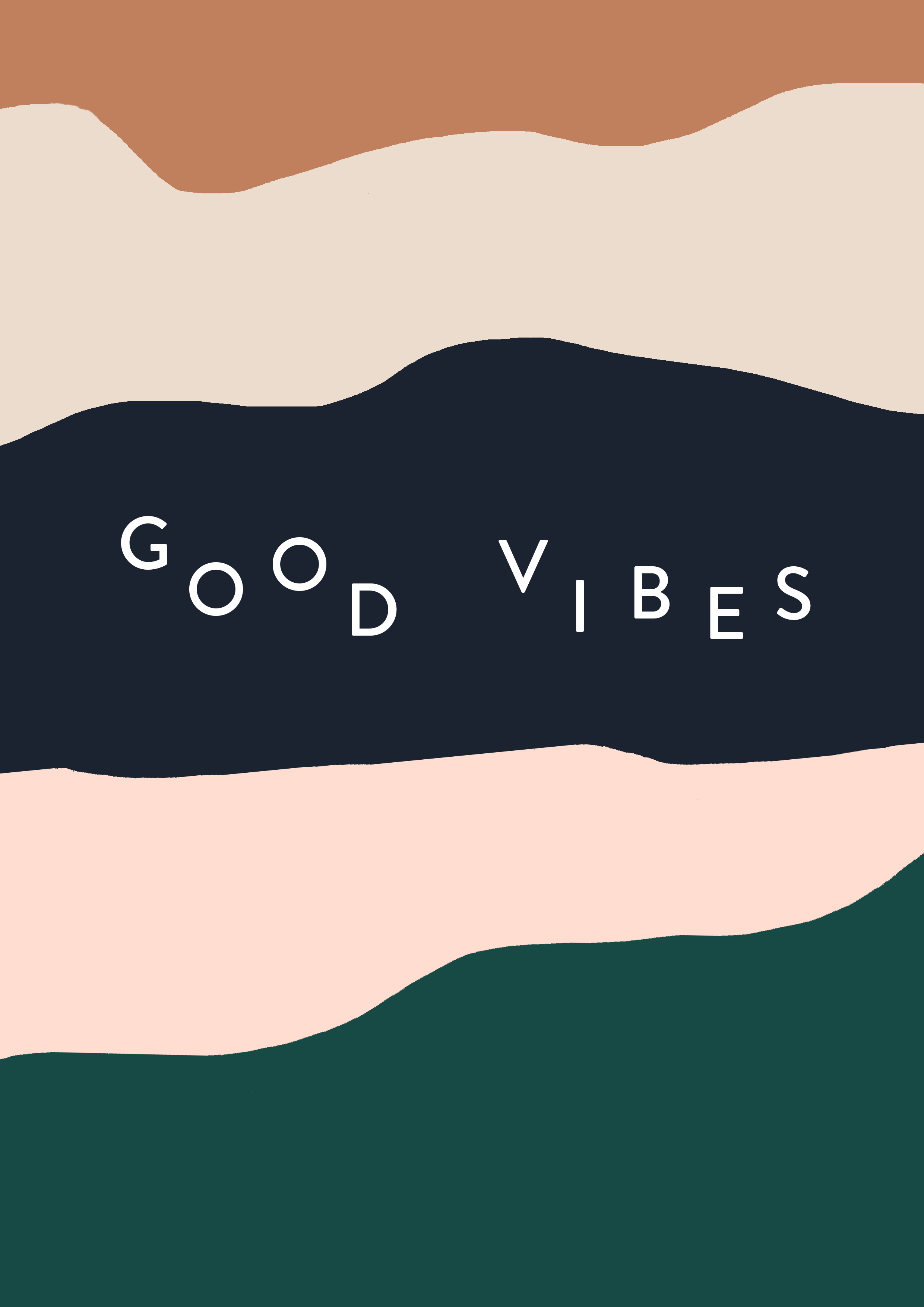 Layered strips of wavy neutral colours with the phrase GOOD VIBES in the centre
