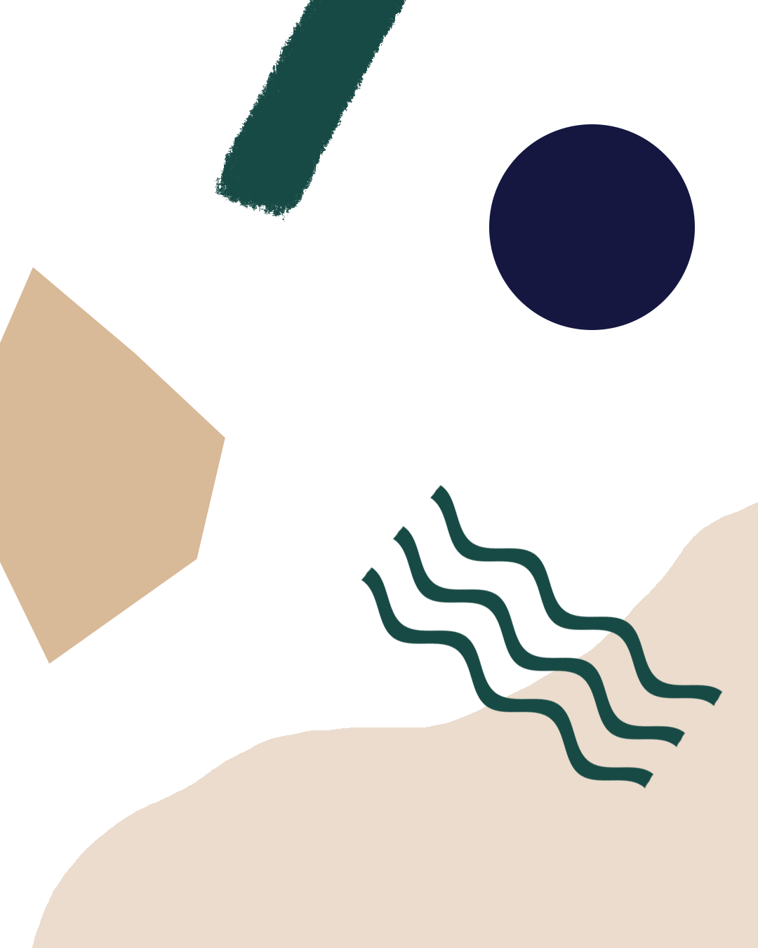 Abstract composition of shapes and wiggly lines in navy blue, beige and dark green on a white background